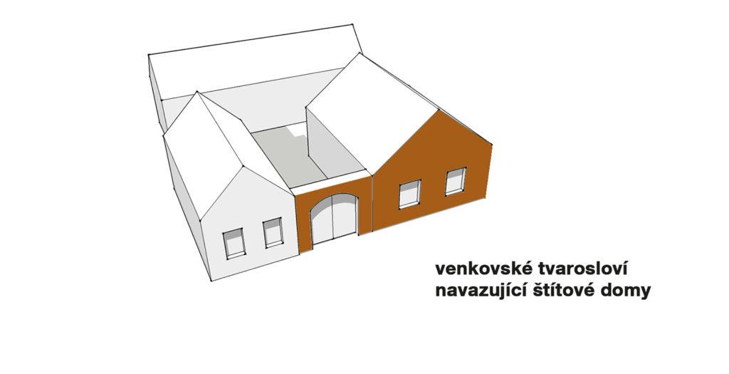 Schéma uliční fasády typového domu Singl
