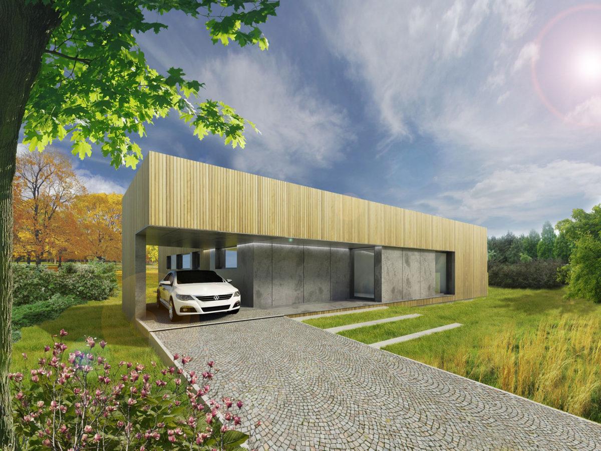 Varianta s pultovou střechou a garáží - pohled z příjezdové cesty