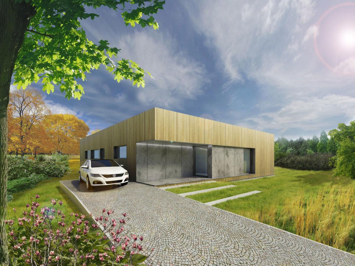 Varianta s pultovou střechou bez garáže - pohled z příjezdové cesty