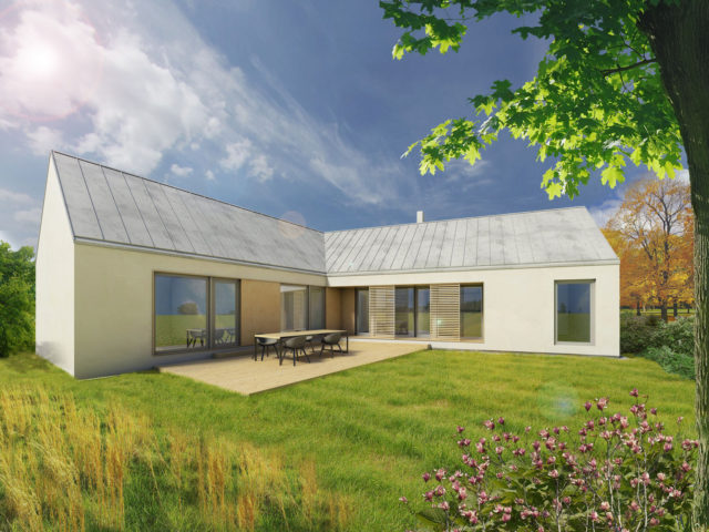 Varianta se sedlovou střechou - zahrada