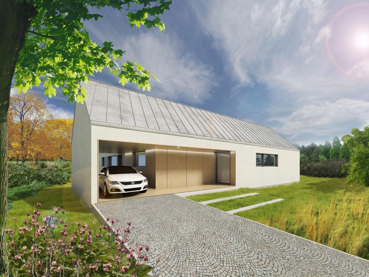 Varianta se sedlovou střechou a krytým stání