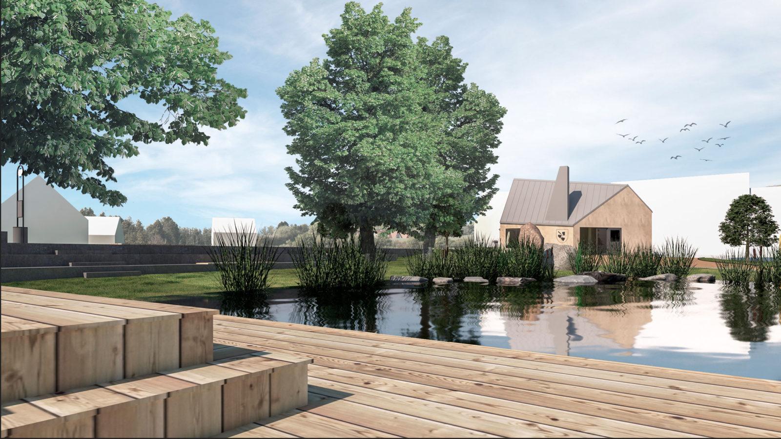 Vizualizace - pohled na obecní úřad přes rybník